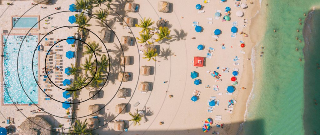 Aerial view of wi-fi coverage on a beach resort